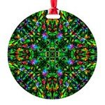 Green Fractal Mandala Round Ornament