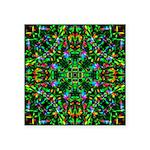 Green Fractal Mandala Square Sticker 3