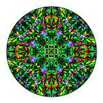 Green Fractal Mandala Round Car Magnet