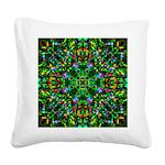 Green Fractal Mandala Square Canvas Pillow