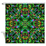 Green Fractal Mandala Shower Curtain