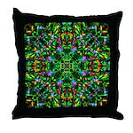 Green Fractal Mandala Throw Pillow