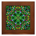Green Fractal Mandala Framed Tile