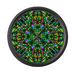 Green Fractal Mandala Large Wall Clock