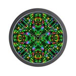 Green Fractal Mandala Wall Clock