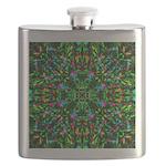 Green Fractal Mandala Flask