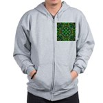 Green Fractal Mandala Zip Hoodie