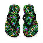 Green Fractal Mandala Flip Flops