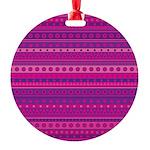 Purple and Pink Stripy Pattern Round Ornament
