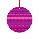 Purple and Pink Stripy Pattern Ornament (Round)