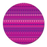 Purple and Pink Stripy Pattern Round Car Magnet