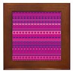 Purple and Pink Stripy Pattern Framed Tile