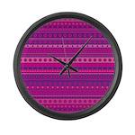 Purple and Pink Stripy Pattern Large Wall Clock