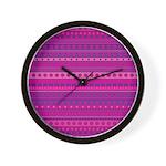 Purple and Pink Stripy Pattern Wall Clock