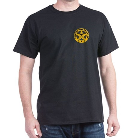 Gold Private Investigator Logo on Black T-Shirt