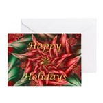 Fractal Poinsettia Happy Holidays Greeting Card
