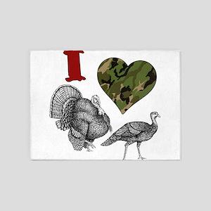 heart turkey 5'x7'Area Rug