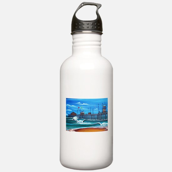 Huntington Beach Pier CIrca 1983 Water Bottle