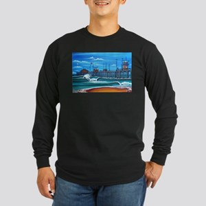 Huntington Beach Pier CIrca 1983 Long Sleeve Dark
