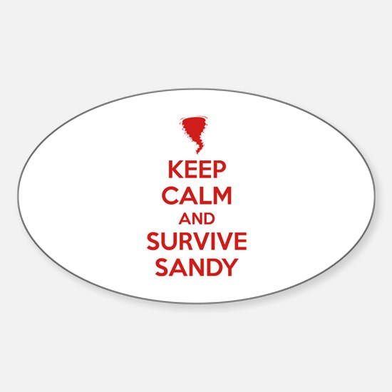 Keep Calm and Survive Sandy Sticker (Oval)