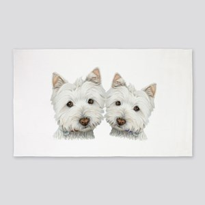 Two Cute West Highland White Dogs 3 X5 Area Rug