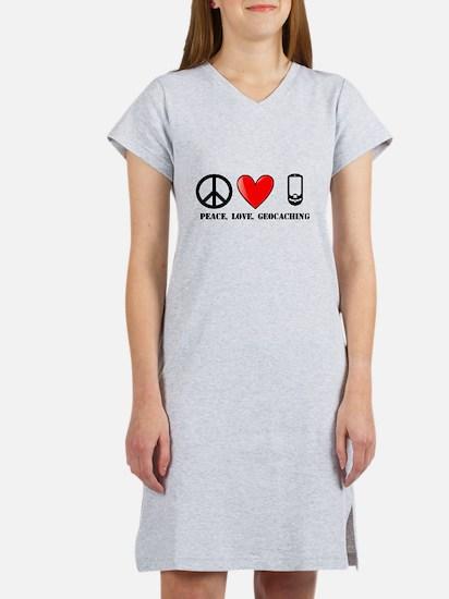 Peace, Love, Geocaching Women's Nightshirt