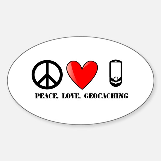Peace, Love, Geocaching Sticker (Oval)