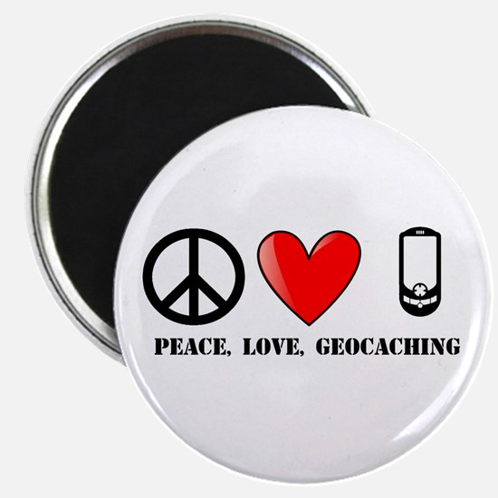 """Peace, Love, Geocaching 2.25"""" Magnet (100 pack)"""