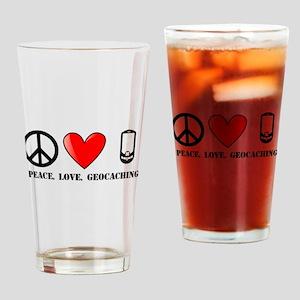 Peace, Love, Geocaching Drinking Glass