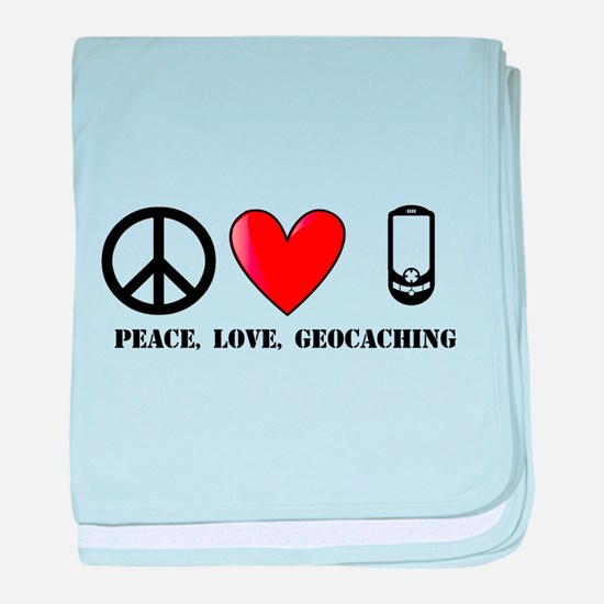 Peace, Love, Geocaching baby blanket