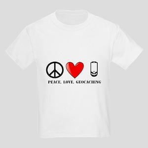 Peace, Love, Geocaching Kids Light T-Shirt