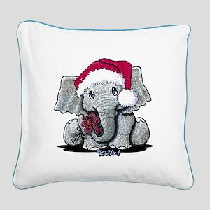 Christmas Elephant Square Canvas Pillow