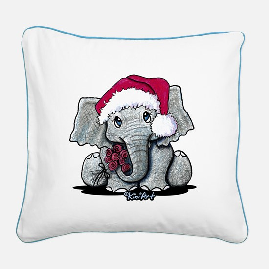 Christmas Elephant Square Canvas Pillow