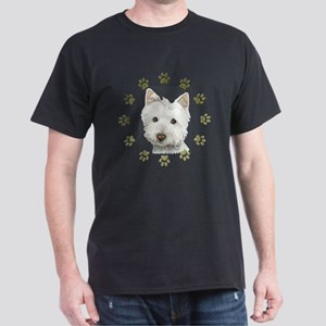 West Highland White and Paws Art Dark T-Shirt