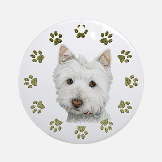 West Highland White and Paws Art Ornament (Round)