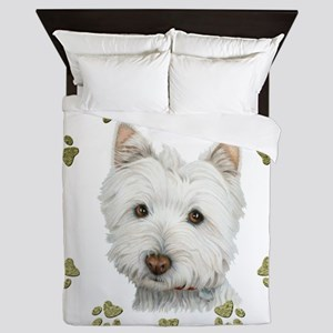West Highland White and Paws Art Queen Duvet