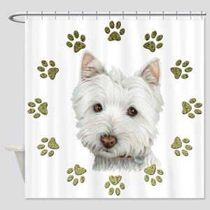 West Highland White and Paws Art Shower Curtain