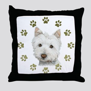 West Highland White and Paws Art Throw Pillow