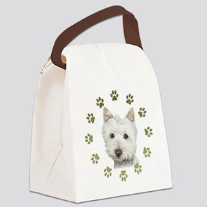 West Highland White and Paws Art Canvas Lunch Bag