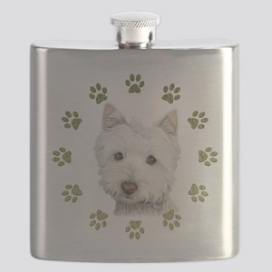 West Highland White and Paws Art Flask