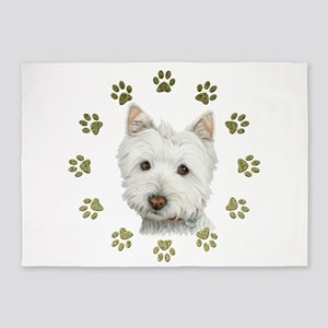West Highland White and Paws Art 5'x7'Area Rug