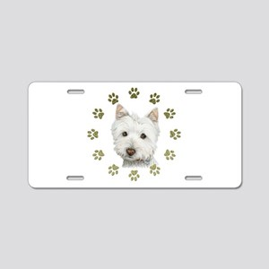 West Highland White and Paws Art Aluminum License