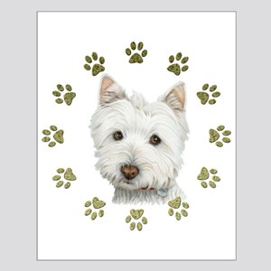 West Highland White and Paws Art Small Poster