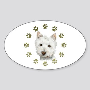 West Highland White and Paws Art Sticker (Oval)
