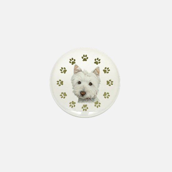 West Highland White and Paws Art Mini Button