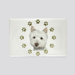 West Highland White and Paws Art Rectangle Magnet