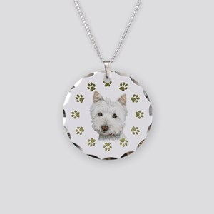West Highland White and Paws Art Necklace Circle C