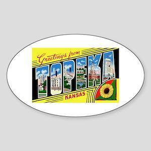 Topeka Kansas Greetings Oval Sticker
