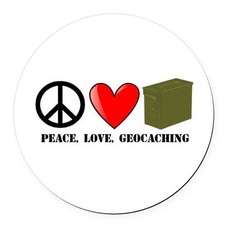 Peace, Love, Geocaching Round Car Magnet