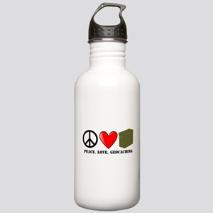 Peace, Love, Geocaching Stainless Water Bottle 1.0